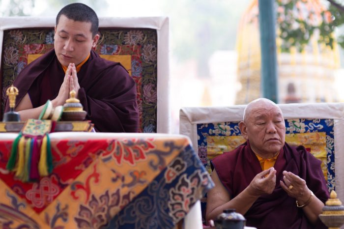Thaye Dorje, His Holiness the 17th Gyalwa Karmapa, and Beru Khyentse Rinpoche at the Kagyu Monlam 2014. Photo / Tokpa Korlo