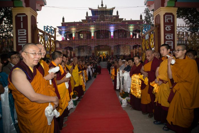 Monks and lay people await the arrival of Thaye Dorje, His Holiness the 17th Gyalwa Karmapa