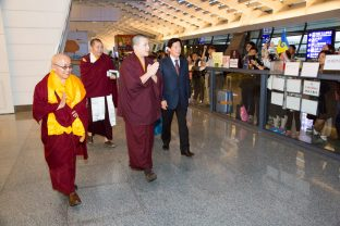 Thaye Dorje, His Holiness the 17th Gyalwa Karmapa, arrives in Taiwan. Photo / Thule Jug