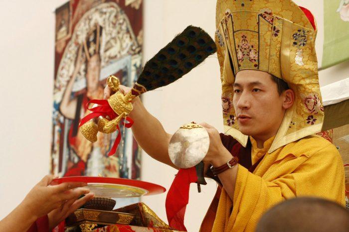 Thaye Dorje, His Holiness the 17th Gyalwa Karmapa giving an empowerment. Photo / Ginger Neumann