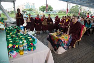 Thaye Dorje, His Holiness the 17th Gyalwa Karmapa, performing a Naga Vase Puja