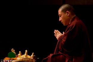 Thaye Dorje, His Holiness the 17th Gyalwa Karmapa, leading the Kagyu Monlam