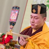 Thaye Dorje, His Holiness the 17th Gyalwa Karmapa, giving an empowerment on Chenresig in France 2015. Photo / Thule Jug