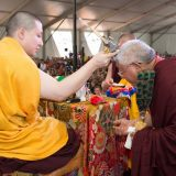 Thaye Dorje, His Holiness the 17th Gyalwa Karmapa, blessing Lama Jigme Rinpoche in France 2015. Photo / Thule Jug
