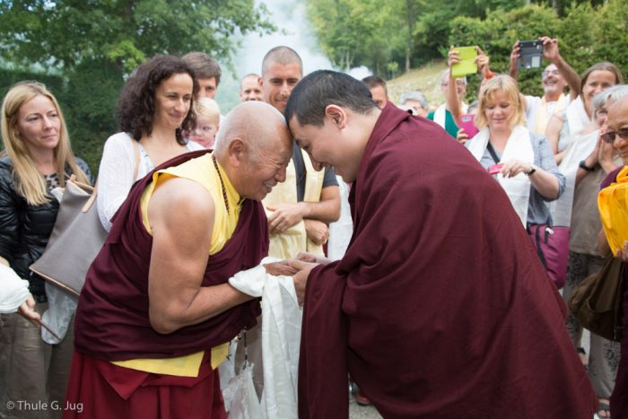 Lama Teunsang welcomes Thaye Dorje, His Holiness the 17th Gyalwa Karmapa, to Montchardon