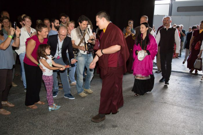 Thaye Dorje, His Holiness the 17th Gyalwa Karmapa, arrives with Sangyumla in Grenoble