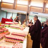 Thaye Dorje, His Holiness the 17th Gyalwa Karmapa blessing the hundreds of mantra rolls and other precious substances. Photo / Tokpa Korlo
