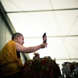 Thaye Dorje, His Holiness the 17th Gyalwa Karmapa, giving the Chenresig empowerment in France 2015. Photo / Tokpa Korlo