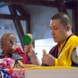 Thaye Dorje, His Holiness the 17th Gyalwa Karmapa, consecrating the meditation hall in Germany 2015 with Sherab Gyaltsen Rinpoche. Photo / Thule Jug