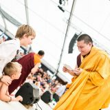 Thaye Dorje, His Holiness the 17th Gyalwa Karmapa, takes questions from students in Germany 2015. Photo / Tokpa Korlo