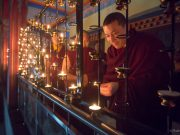 Thaye Dorje, His Holiness the 17th Gyalwa Karmapa, lighting candles for Indian Independence Day