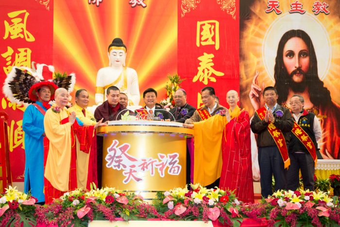 Thaye Dorje, His Holiness the 17th Gyalwa Karmapa, was guest of honour at the interfaith event. Photo / Thule Jug