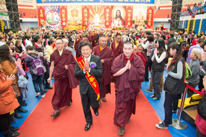 Thaye Dorje, His Holiness the 17th Gyalwa Karmapa, arriving at the interfaith event. Photo / Thule Jug