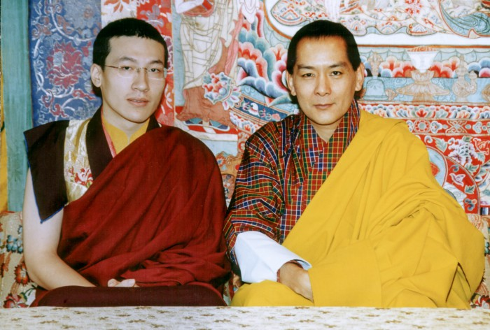 Thaye Dorje, His Holiness the 17th Gyalwa Karmapa, with King Jigme Singye in 2003