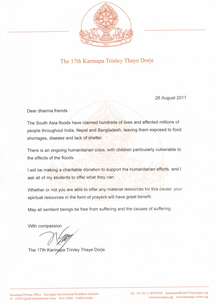 Letter from Thaye Dorje, His Holiness the 17th Gyalwa Karmapa, on the floods in South Asia