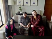 (Left to right): Sangyumla, Karmapa's wife; Her Royal Highness Ashi Chokyi; Thaye Dorje, His Holiness the 17th Gyalwa Karmapa