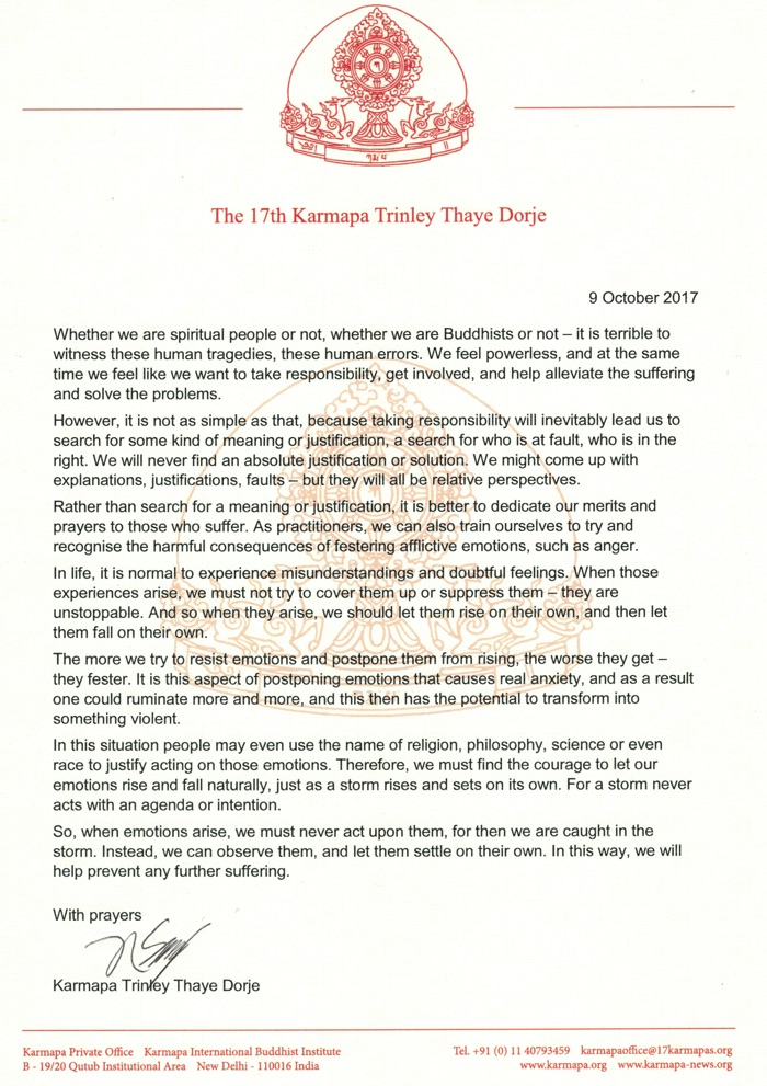 Statement from Thaye Dorje, His Holiness the 17th Gyalwa Karmapa, on the Rohingya crisis