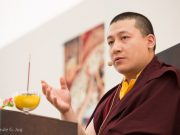 Thaye Dorje, His Holiness the 17th Gyalwa Karmapa, teaching on compassion. Photo / Thule Jug