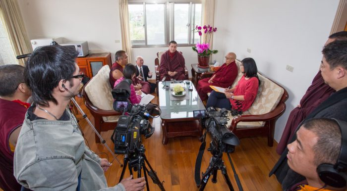Thaye Dorje, His Holiness the 17th Gyalwa Karmapa, gives a press conference in East Yangpachen monastery. Photo / Thule Jug