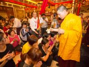 Thaye Dorje, His Holiness the 17th Gyalwa Karmapa, blessing devotees. Photo / Thule Jug