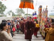 Thaye Dorje, His Holiness the 17th Gyalwa Karmapa, arrives at East Yangpachen Monastery. Photo / Thule Jug