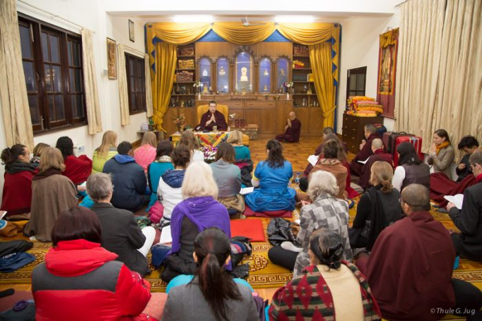 Thaye Dorje, His Holiness the 17th Gyalwa Karmapa, leading a meditation after the teachings