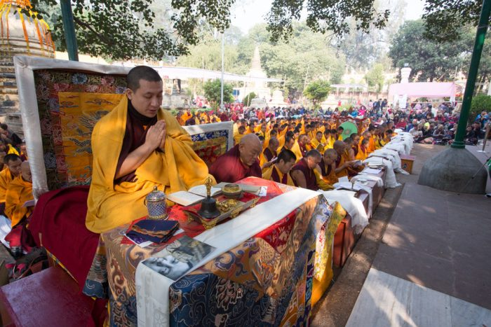 Thaye Dorje, His Holiness the 17th Gyalwa Karmapa, leading the ceremonies at the Kagyu Monlam 2014. Photo / Thule Jug