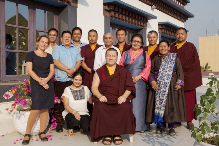 Thaye Dorje, His Holiness the 17th Gyalwa Karmapa, with SABA members at the Karmapa International Buddhist Institute, New Delhi, India