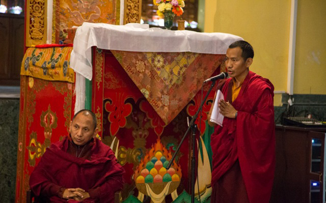 Ven. Khenpo Mriti gives a thanksgiving speech during the closing ceremony
