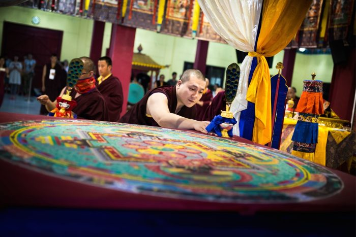 Chakrasamvara empowerment: Creating the mandala. Photo / Tokpa Korlo