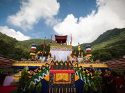 View of the roof of Shar Minub monastery, where the cremation of Kunzig Shamar Rinpoche took place
